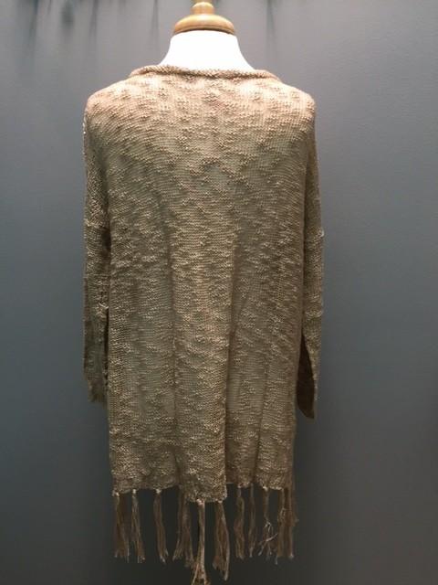 Sweater Tan Oversize Fringe Sweater