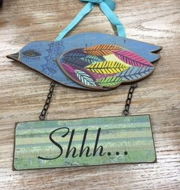 "Decor ""Shhh"" Bird Hanging Plaque"