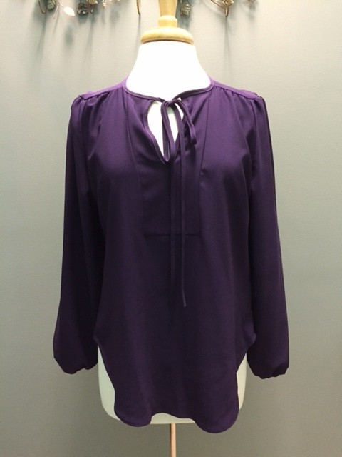 Long Sleeve LS Blouse w/ Tie
