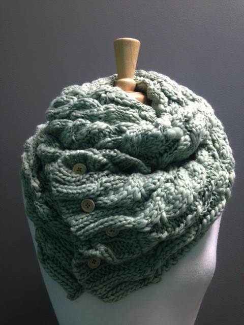 Scarf Oversized Knit Scarf w/ Buttons, Sage