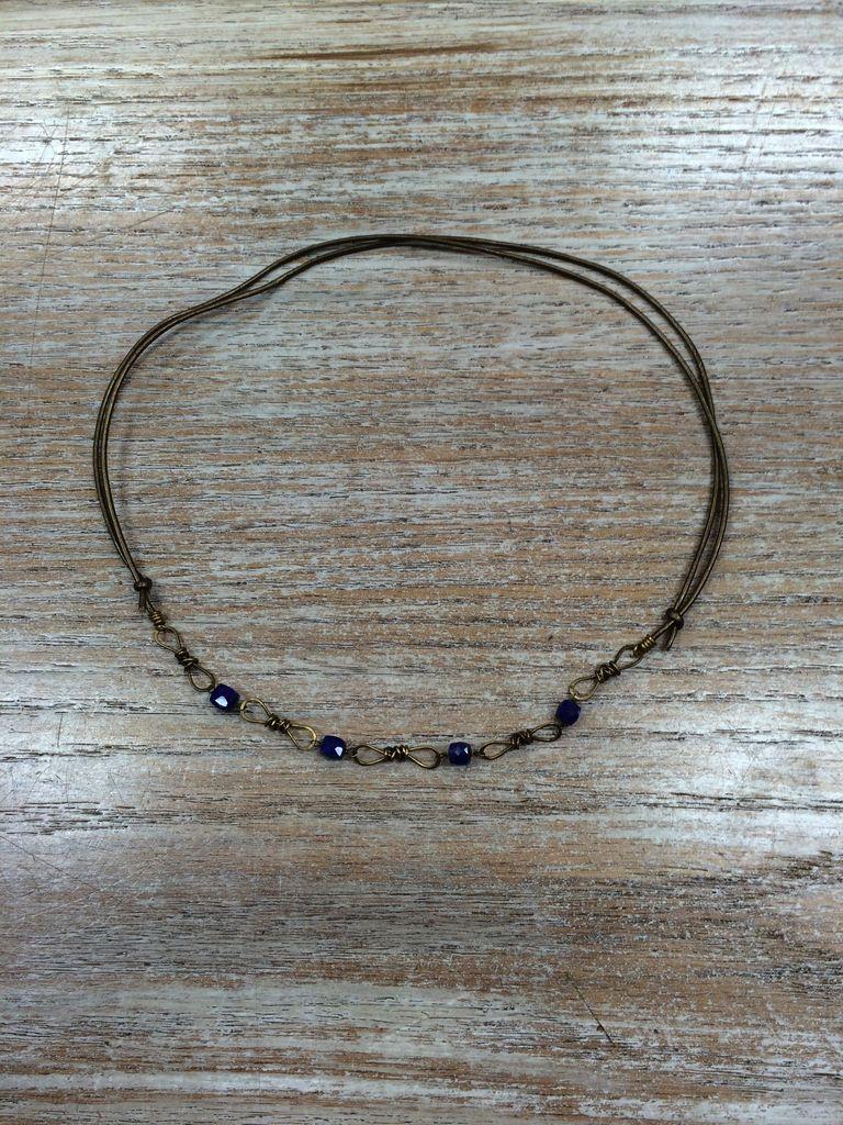 Jewelry Leather Brass Lapis Necklace