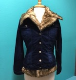 Jacket Denim Jacket w/ Faux Fur Trim
