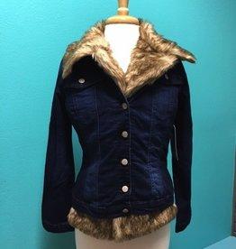 Jacket Denim Jacket w/ Faux Fur Trim