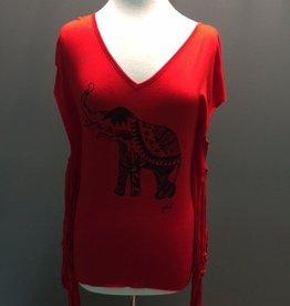 Top Red VNeck Fringe Elephant Top