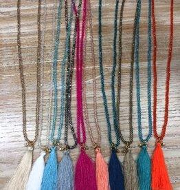 Jewelry Beaded Necklace w/ Tassel