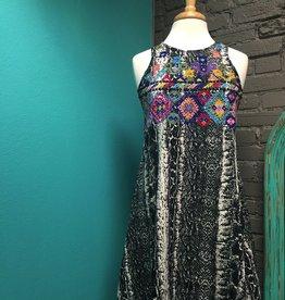 Dress Black Snakeskin Dress w/ Embroidery