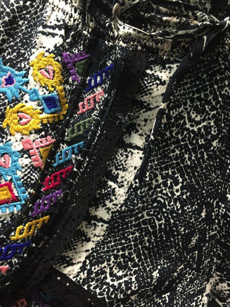 Shorts Black Snakeskin w/ Embroidery Shorts