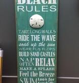 Decor Beach Rules Wall Art 16x40