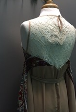 Dress Beige Crochet Print Tie Dress