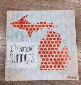 Decor I Love Michigan Summers 8x8 Sign