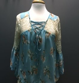 Top LtBlue Floral/Lace Chiffon Top