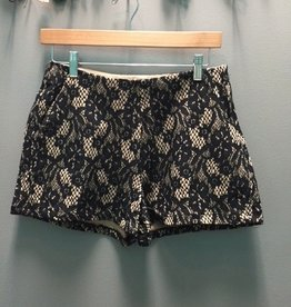 Shorts Taupe/Black Lace Shorts Side Zip