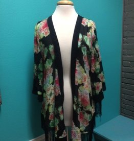 Kimono Floral Print Kimono w/ Fringe