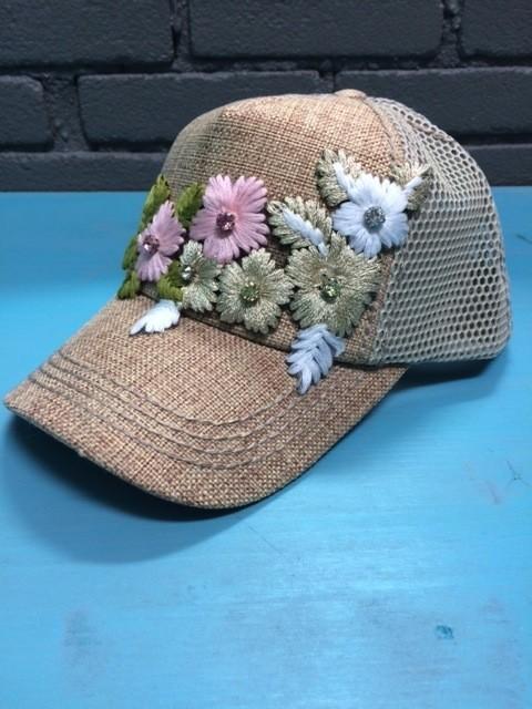 Hat Floral Embellished Cap, Natural