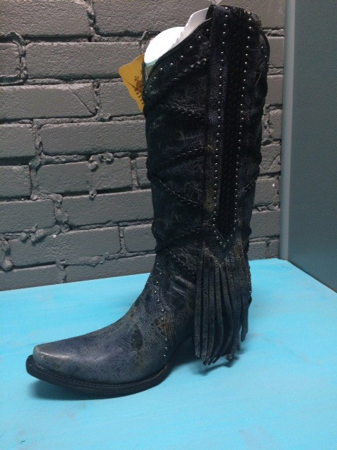 Boot Black/Grey Braiding & Fringe