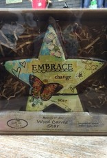 Decor Embrace Change Wood Carved Star