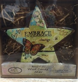 Decor Embrace Change Wood Carved Star