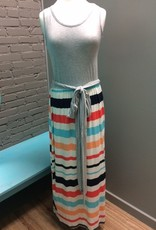Dress Long Grey Stripe Dress