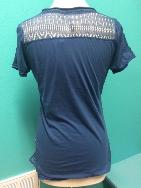 Shirt Blue Studded Shirt w/ Lace