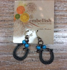 Jewelry Copper/Turquoise Horseshoe Earrings