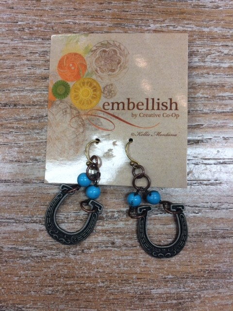 Jewelry Copper/Turquoise Horseshoe Earrings