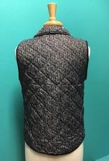 Vest Black Herringbone Print Vest