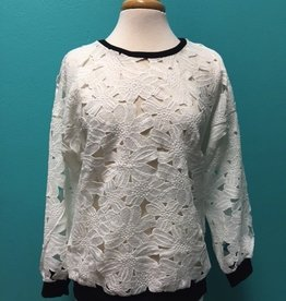 Long Sleeve White LS Floral Crochet Top