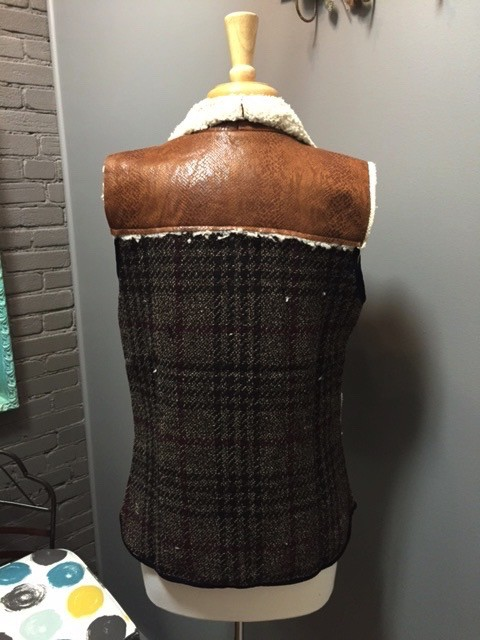 Vest Brown Plaid Vest Faux Fur