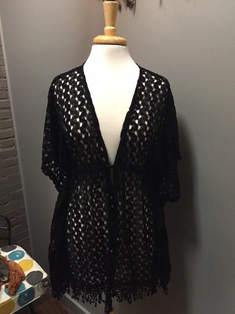 Cardigan Black Crochet Cardi w/ Tie