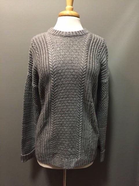 Sweater Gray Open Knit Sweater