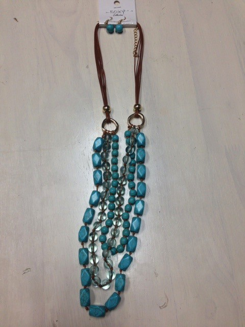 Jewelry Turq Bead Strands Necklace