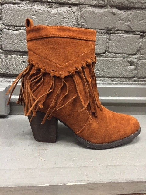 Boot Brown Suede Fringe Booties