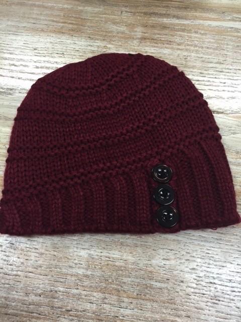 Beanie Knit Beanie w/ Buttons
