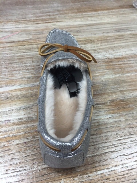Shoes Sparkly Silver Moccasins