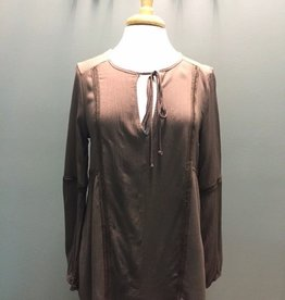 Long Sleeve Mocha LS Tie Top