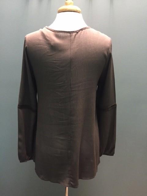Long Sleeve Mocha LS Tie Top
