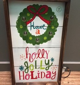 Decor Lit Have A Holly Jolly Wall Art 13x22