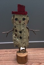 Decor Snowman w/ Red Hat Figure