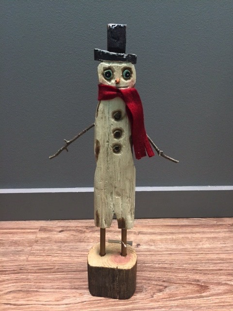 Decor Tall Snowman w/ Red Scarf Figure