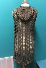 Vest Olive Open Knit Hooded Vest