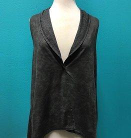 Vest Charcoal Asymmetrical Vest w/ Snap