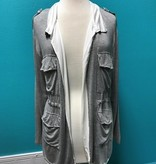 Cardigan Gray Cardi w/ Tie Waist and Pocket Detail