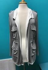 Cardigan Gray Cardi w/ Tie Waist and Pocket Detail
