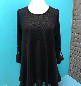 Top Black Roll Up Flare Top