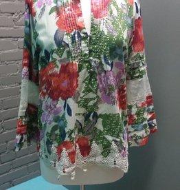 Blouse Big Floral Print Button Top