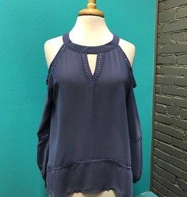 Long Sleeve Blue Open Shoulder Top w/ Knit Detail