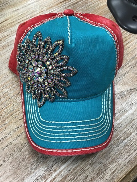 Hat CB Crystal Flower Cap