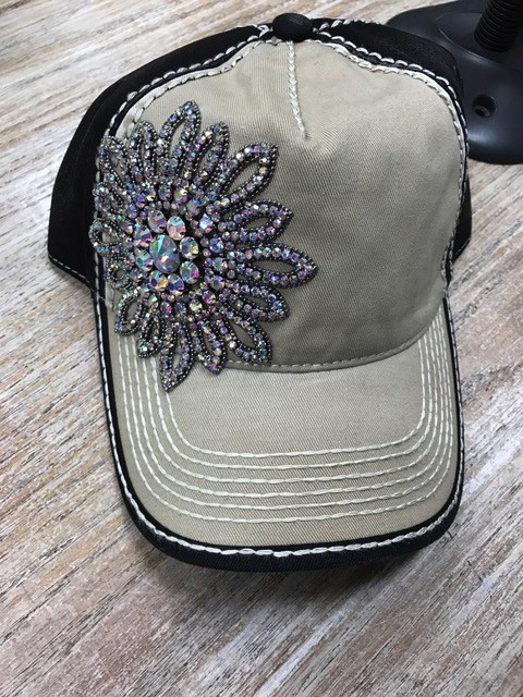 Hat CB Crystal Flower Cap
