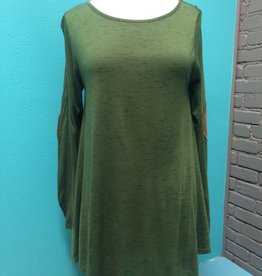 Top Green Shirt with Elbow Patch Detail