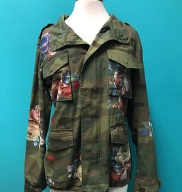 Jacket Camo Military Jacket w/ Floral Print